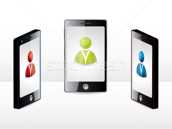 Smartphone groupe différent utilisateurs blanche téléphone Photo stock © vipervxw