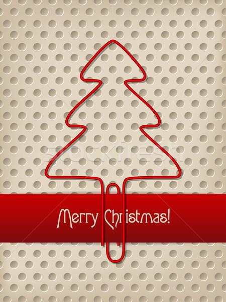 Рождества приветствие дерево скрепку Сток-фото © vipervxw