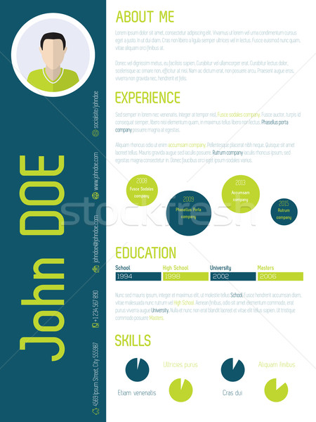 Modern resume cv with cool colors Stock photo © vipervxw