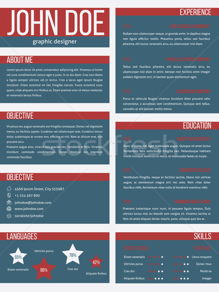 New resume cv template with separate categories Stock photo © vipervxw