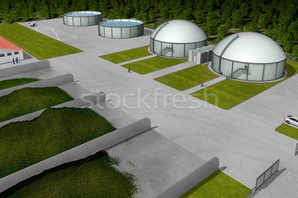Biogas plant from aerial perspective Stock photo © visdia