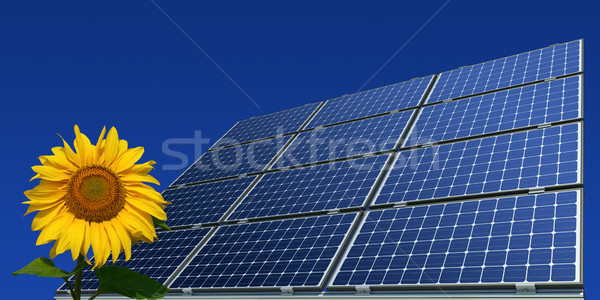 Stock photo: Mono-crystalline solar panels and sunflower against a blue background