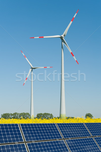 Solar panels and wind turbines in a rapeseed field Stock photo © visdia
