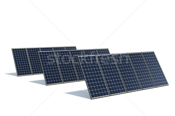 Mono-crystalline solar panels against a white background Stock photo © visdia