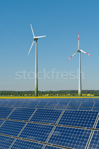 Wind turbines and solar panels against a rapeseed field Stock photo © visdia
