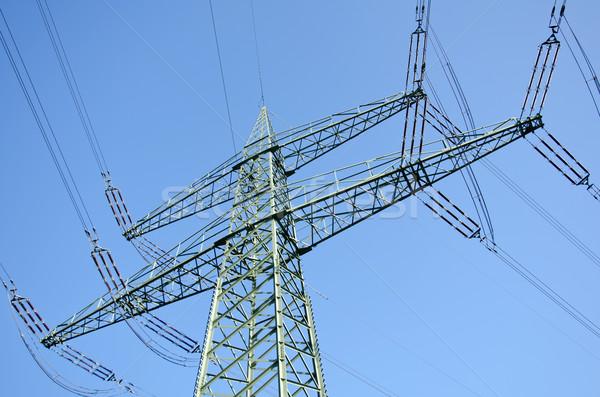 Hasznosság pólus drótok tájkép kék kábel Stock fotó © visdia