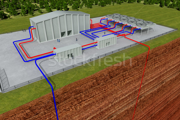 Stock photo: Geothermal system with cutting through the earth and deep hole, about 3 - 6 km deep