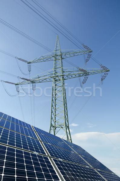 Zonnepanelen utility paal draden hemel zon Stockfoto © visdia