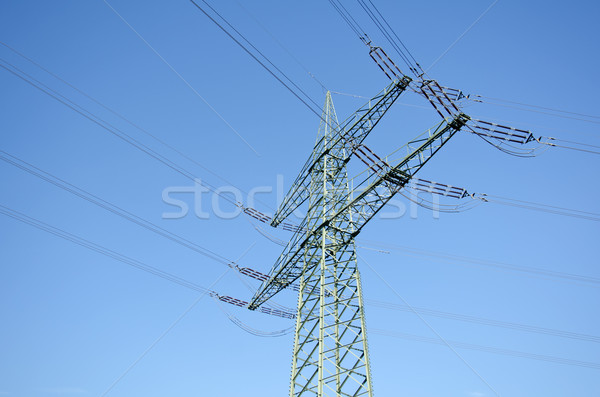 Utility paal draden landschap Blauw kabel Stockfoto © visdia