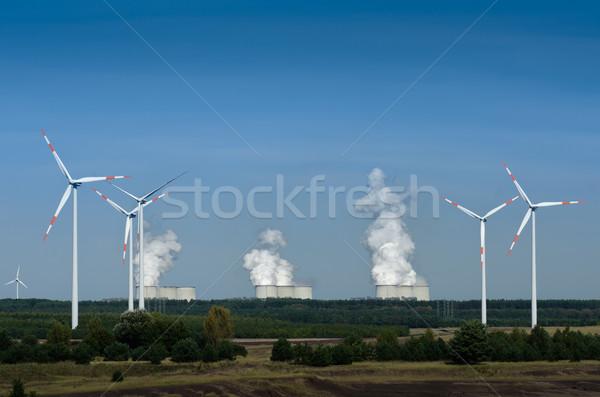 Szélturbinák növény nap tájkép füst energia Stock fotó © visdia