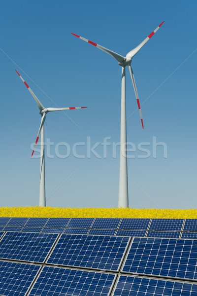 Wind turbines and solar panels in a rapeseed field Stock photo © visdia