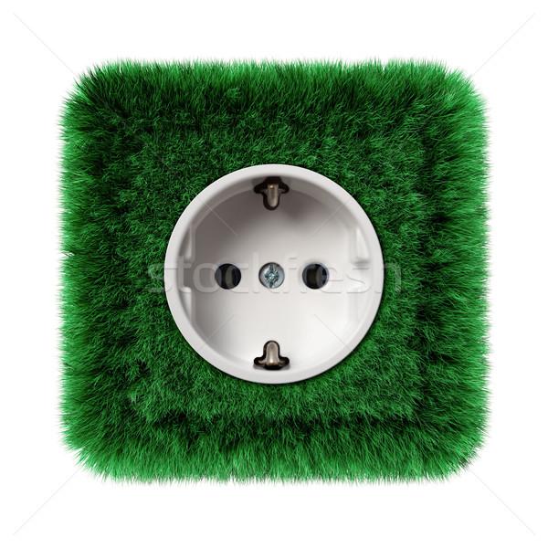 Stopcontact gedekt groen gras natuur achtergrond netwerk Stockfoto © visdia