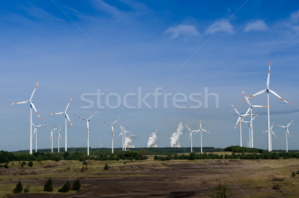 Wind turbines in front of a coal-fired plant Stock photo © visdia