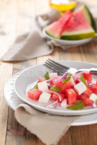 Watermeloen salade mint feta houten Stockfoto © Vitalina_Rybakova