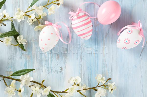 イースターエッグ フレーム 春の花 カラフル 花 春 ストックフォト © Vitalina_Rybakova