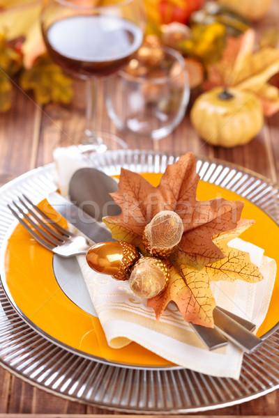 Dankzegging diner decoratie najaar plaats bladeren Stockfoto © Vitalina_Rybakova