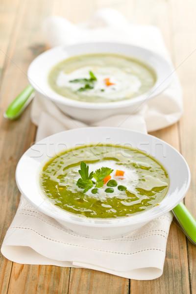 Groene soep kommen room olie houten Stockfoto © Vitalina_Rybakova