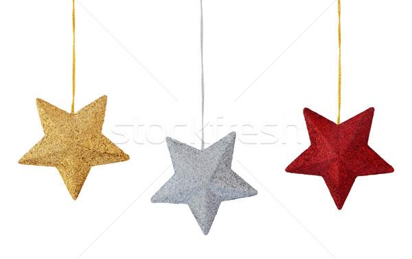 Christmas decoratie witte ingesteld kleurrijk sterren Stockfoto © Vitalina_Rybakova