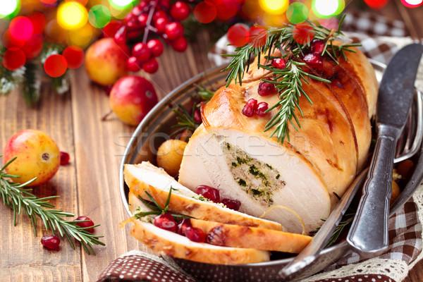 Turkije borst vakantie gevuld gebakken groenten Stockfoto © Vitalina_Rybakova