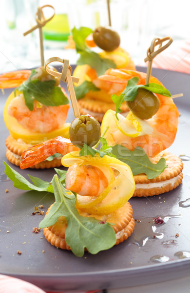Canapes with prawns. Stock photo © Vitalina_Rybakova