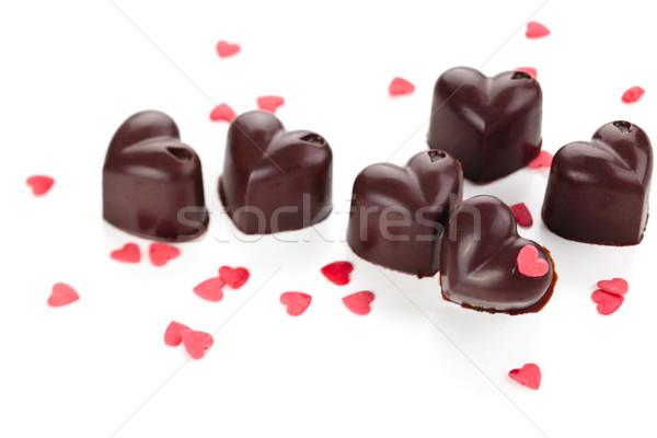 Házi készítésű csokoládé cukorkák díszített szív alakú Stock fotó © Vitalina_Rybakova