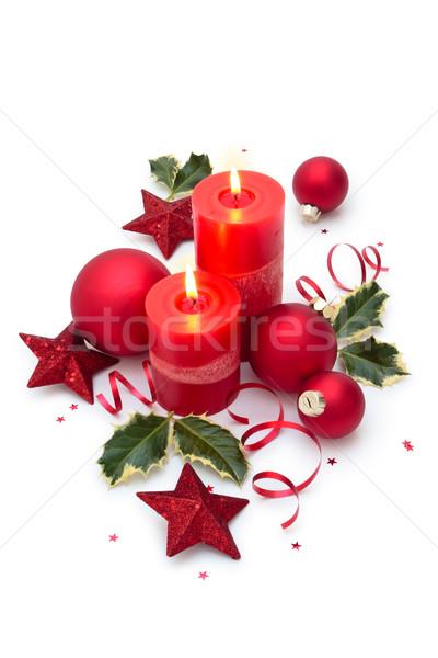 Christmas ornament decoratie kaarsen geïsoleerd witte Stockfoto © Vitalina_Rybakova