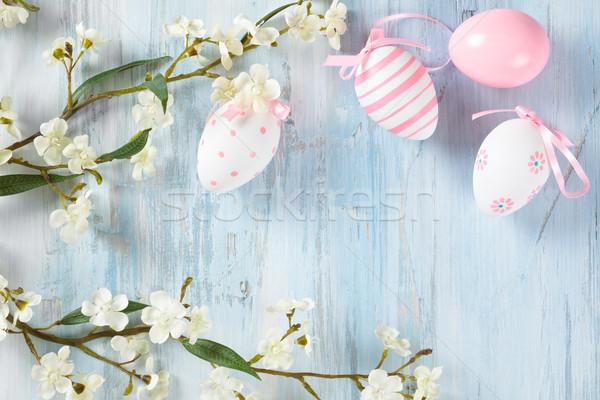 Paaseieren frame lentebloemen kleurrijk bloem voorjaar Stockfoto © Vitalina_Rybakova