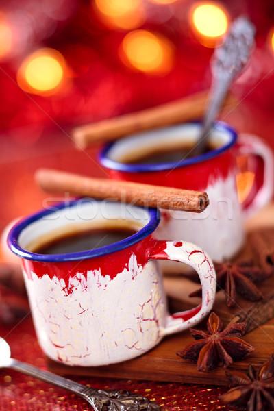 Warme chocolademelk specerijen christmas dag voedsel koffie Stockfoto © Vitalina_Rybakova