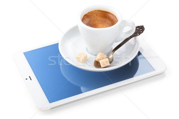 コーヒーブレイク デジタル 白 タブレット カップ エスプレッソ ストックフォト © Vitalina_Rybakova