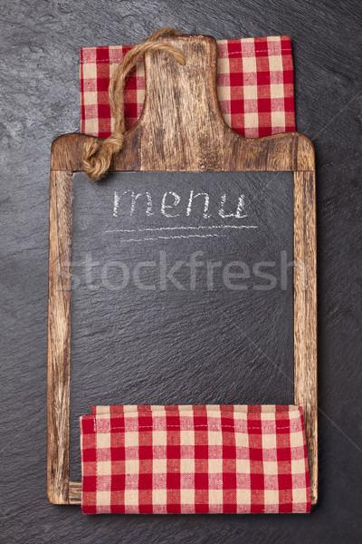 Tafelkleed donkere textuur voedsel ontwerp Stockfoto © Vitalina_Rybakova