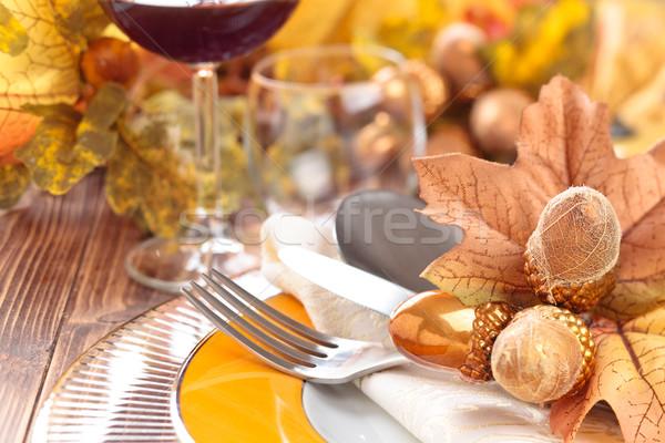 Şükran Günü akşam yemeği dekorasyon sonbahar yer yaprakları Stok fotoğraf © Vitalina_Rybakova