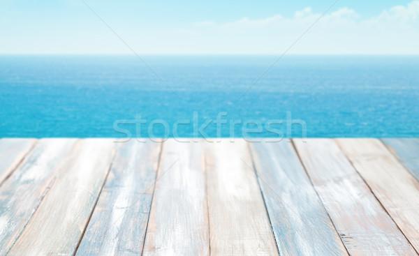 Zomer zee landschap houten gratis ruimte Stockfoto © Vitalina_Rybakova