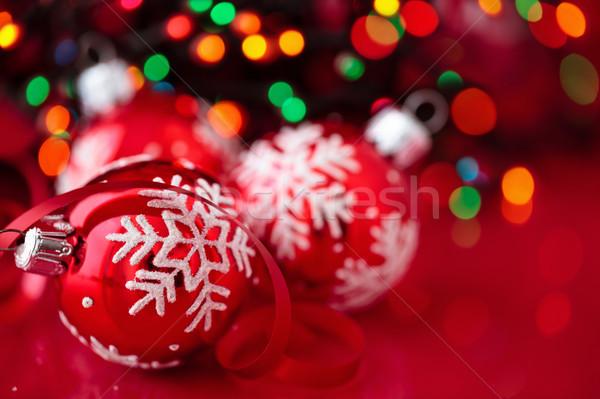 Christmas decoratie witte geschilderd sneeuwvlokken Stockfoto © Vitalina_Rybakova