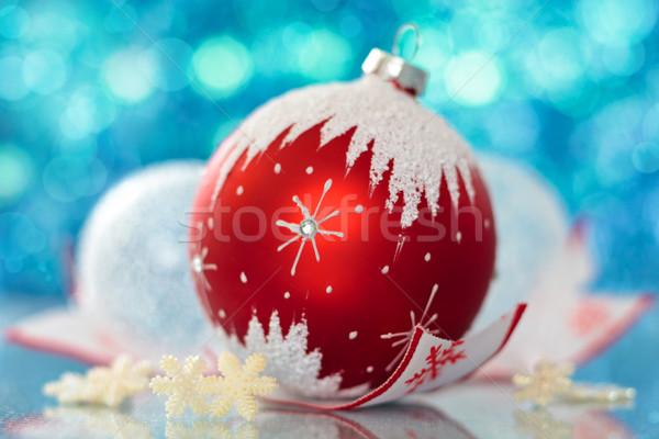 Christmas bal sneeuwvlok sterren vakantie lichten Stockfoto © Vitalina_Rybakova