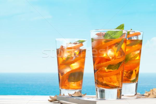 Laranja limonada de laranjas mesa de madeira Foto stock © Vitalina_Rybakova