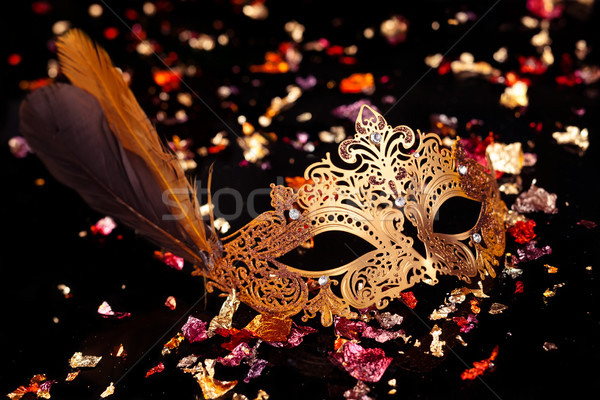 Goud carnaval masker zwarte achtergrond kunst Stockfoto © Vitalina_Rybakova