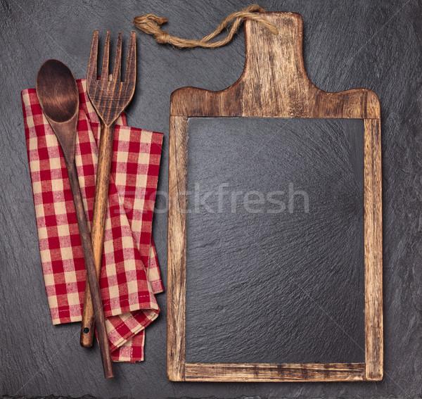 Keuken tafelkleed houten lepels Stockfoto © Vitalina_Rybakova
