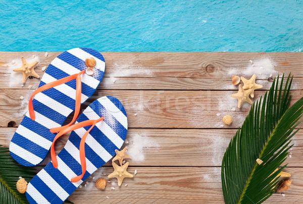 Blauw zomer schelpen oude houten Stockfoto © Vitalina_Rybakova