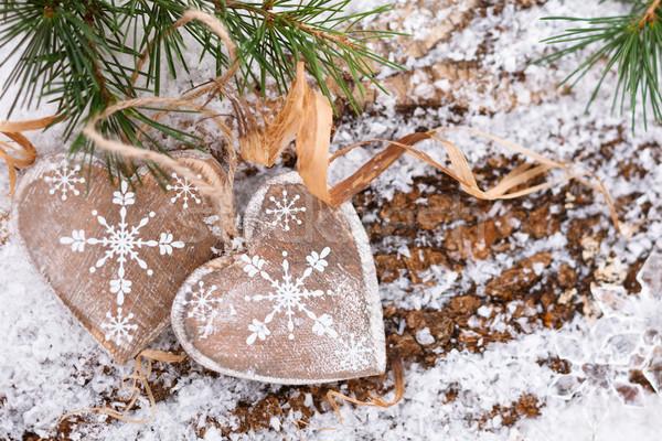 クリスマス 装飾 木製 心 テクスチャ 愛 ストックフォト © Vitalina_Rybakova