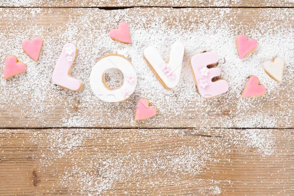 Dekore edilmiş kurabiye atış kelime kalp Stok fotoğraf © Vitalina_Rybakova