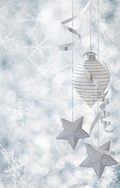 Noel dekorasyon Yıldız beyaz top gümüş Stok fotoğraf © Vitalina_Rybakova