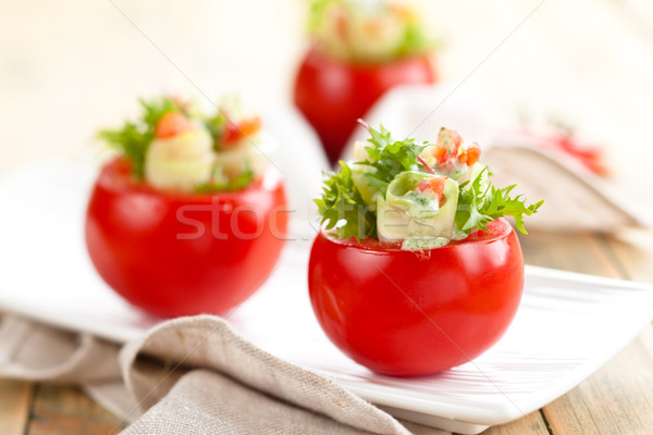Gevuld tomaten shot ruw komkommers Stockfoto © Vitalina_Rybakova
