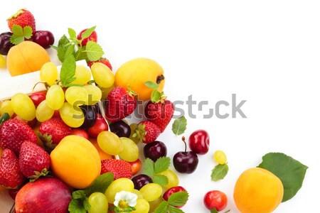 Vers vruchten vak mint bladeren geïsoleerd Stockfoto © Vitalina_Rybakova