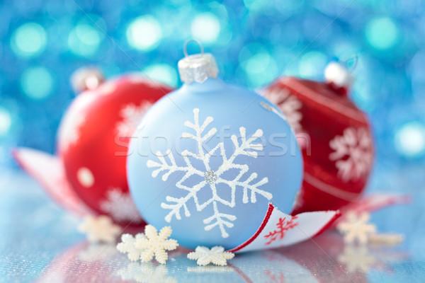 Noel dekorasyon mavi top kar tanesi bulanık Stok fotoğraf © Vitalina_Rybakova
