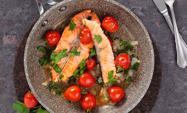 жареный лосося овощей выстрел стейк Сток-фото © Vitalina_Rybakova