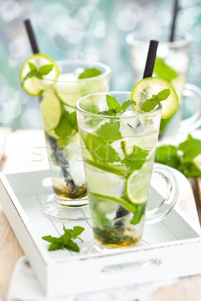 Fresche mojito cocktail bere bianco Foto d'archivio © Vitalina_Rybakova