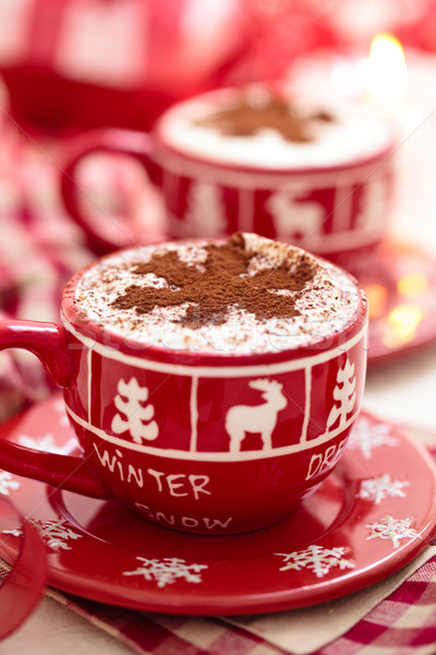 Stock photo: Cups with hot chocolate for Christmas day.