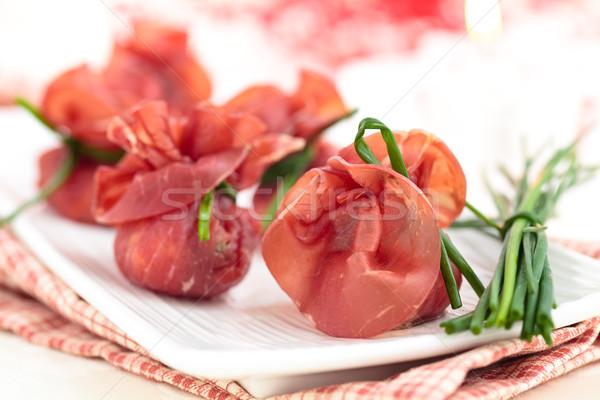 Töltött hús olasz étel előételek ünnepek vacsora Stock fotó © Vitalina_Rybakova