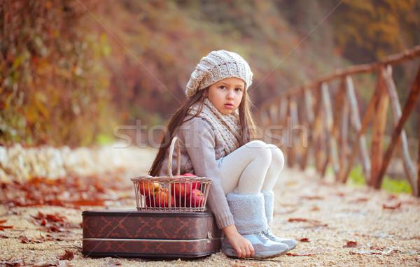 Mooi meisje appels oude koffer weg gezicht Stockfoto © Vitalina_Rybakova