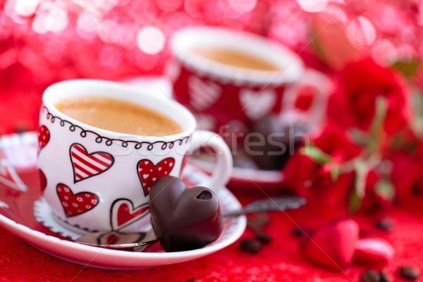 Koffie dag rozen bloem bruiloft Stockfoto © Vitalina_Rybakova